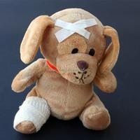 Custom cute stuffed soft plush toy teddy bear dog with bandage wholesale get well soon gift funny injured plush dog toy