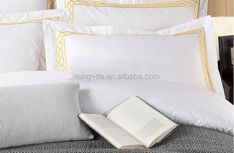 High Quality Embroidery Bed Sheets Cotton Hotel Bed Linen with Duvet Cover Set