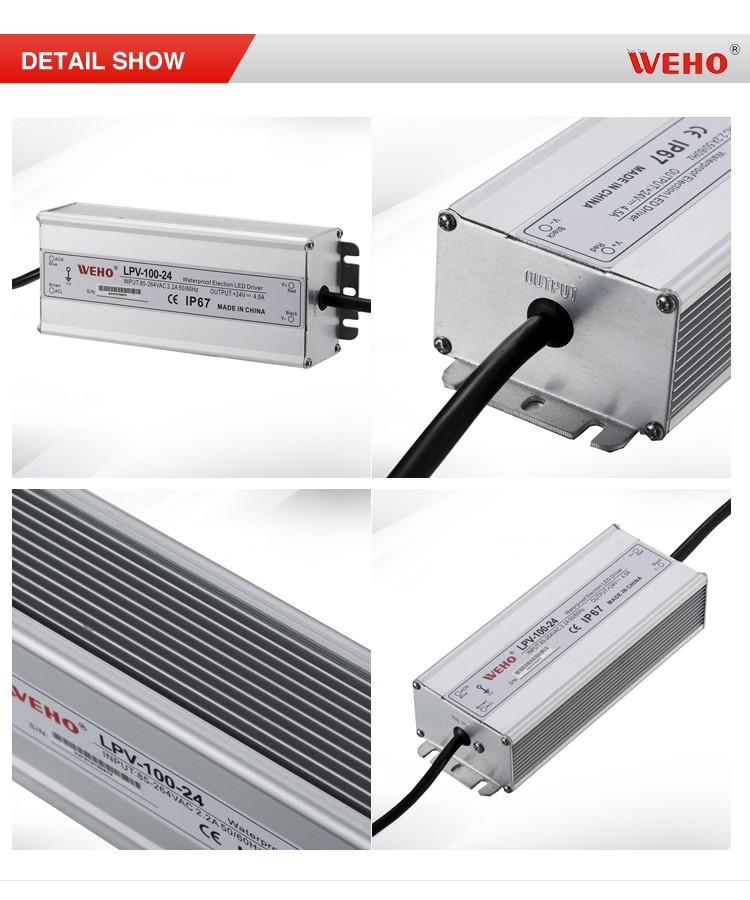 single output switch power supply 100w 4.5a 24v led power supply IP67