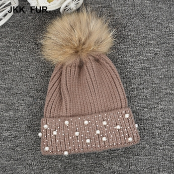 Wholesale Knitted New Design Real/ Faux Raccoon Fur Pompom Hat Ladies Winter Fur Hat