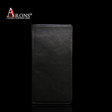 Black top grain leather flip case for sony xperia t2 ultra