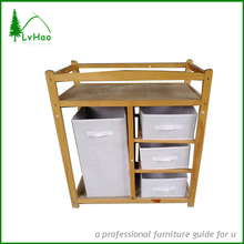 4 -tier free standing shelf solid wood display shelf storage shelf with cavans box