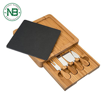 OEM Bamboo Removeable slate cheese board set with knife