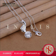Feather shaped plain silver pendant,pure silver jewelry with CZ stone LKNSPCP270