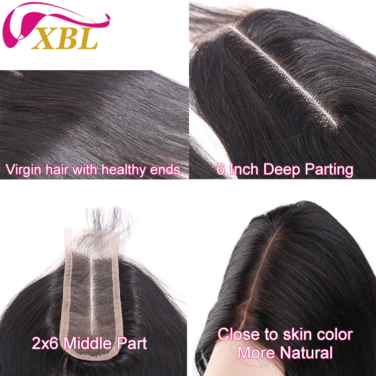 XBL Kim K Straight 2x6 Swiss Lace Closure 100% Human Hair with Baby Hair 10-16 Inch Lace Closure Free Shipping