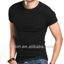 mens cotton/spandex blank elastic t shirts