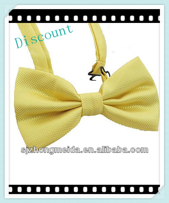 printed logo customized color yellow satin bow tie