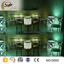 customized glass top round light up cocktail bar table