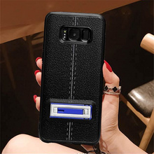 Fashional hybrid plastic magnetic car use mobile phone case for iphone 6 6s with folded stand