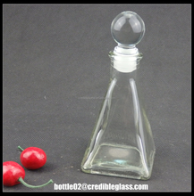 Wholesale 150ml aroma glass bottle With Ball Stopper/Pyramid Shape glass perfume diffuser bottle