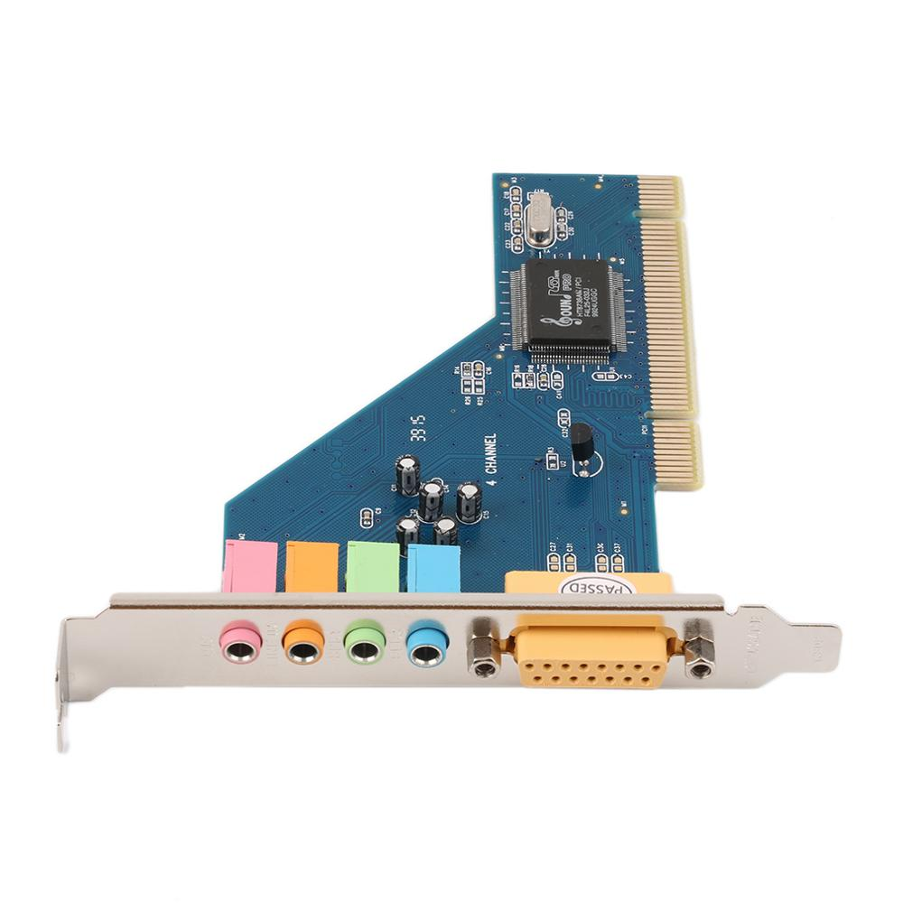 Easy Convenient to Use 4 Channel 5.1 15-pin Surround 3D PCI Sound Audio Card for PC Windows XP/Vista/7