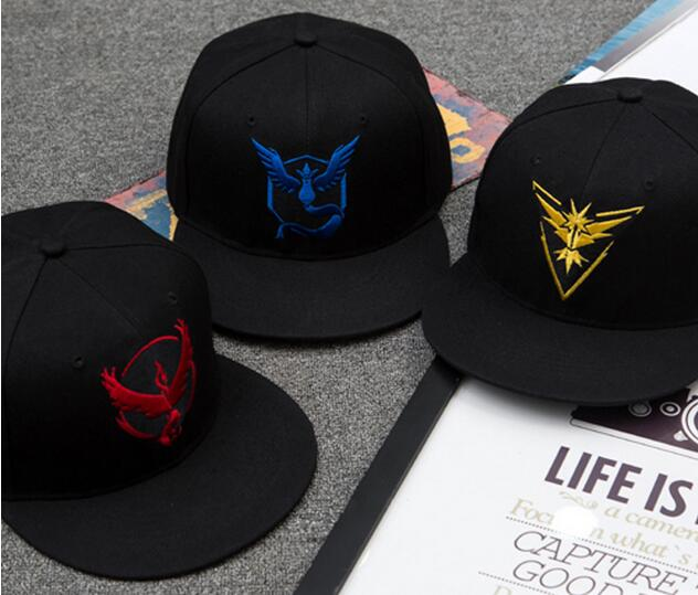 2016 Character Style 3d Embroidery Pokemon Go Fashion snapback Baseball Cap 6-panel black cotton Sports caps hats wholesale