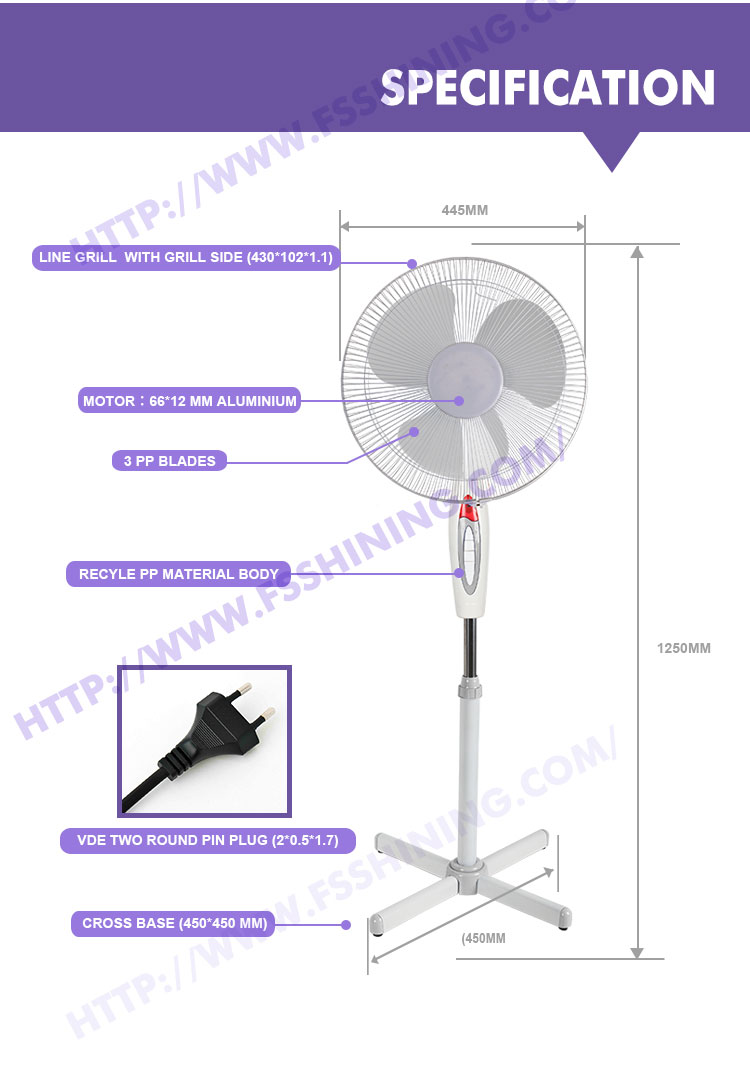 2017 New products fan 16 inch modern stand fan manufacturers