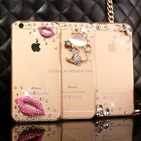 Alibaba Guangzhou in High Quality Hard Crystal Clear PC Case for iPhone 6 with Lips Rhiestone Cat Design