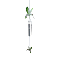 hummingbird transparent partial green christmas indoor wind chime