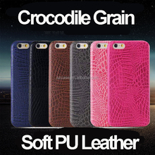 Soft crocodile grain pu leather phone case for iphone 7 Plus 7plus Back Cover Case