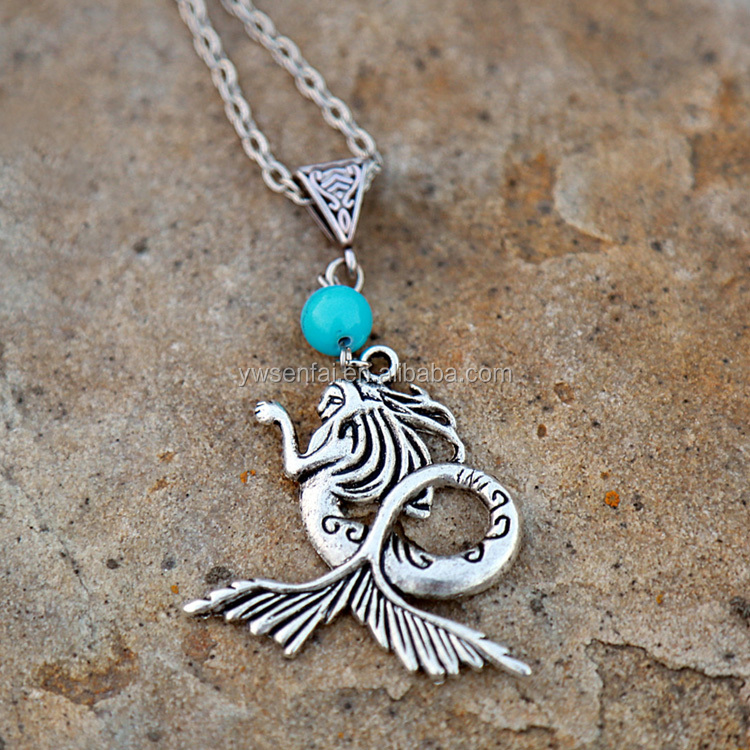 Best Selling Wholesale Custom Sea Jewelry Antique Silver Metal Gypsy Mermaid Necklace