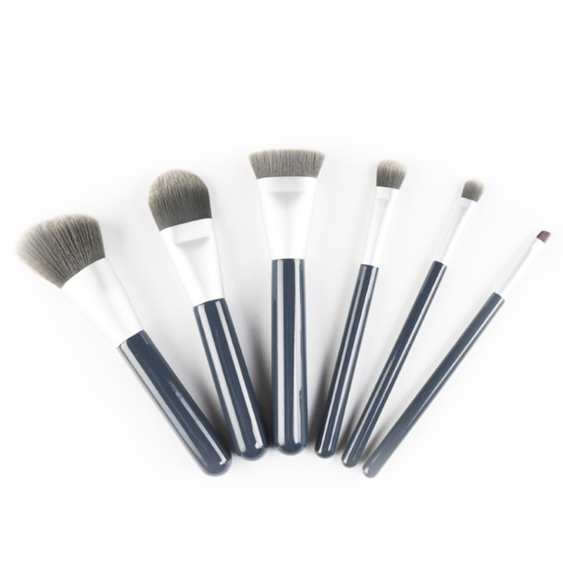 High quality 6 pcs powder makeup brushes kabuki brush set with pu bag custom logo