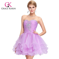 Grace Karin Sweetheart Beaded Sexy Cheap Short Lilac Homecoming Dresses CL6077-4