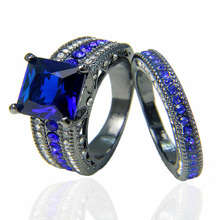 Luxury Wedding Bands Rings Sapphire Gunblack Plated Black Gold Rings For Couples