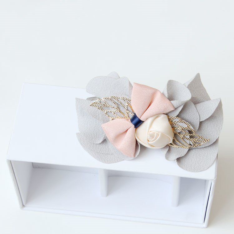MYLOVE light gray chiffon bow barrette handmade hairpins
