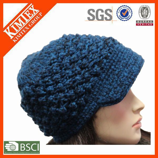 Wholesale knitted winter acrylic customized fashion crochet hat