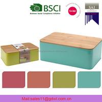 Food safe Oval Enamel Metal Bread Box/Bin/Tin with Bamboo Lid