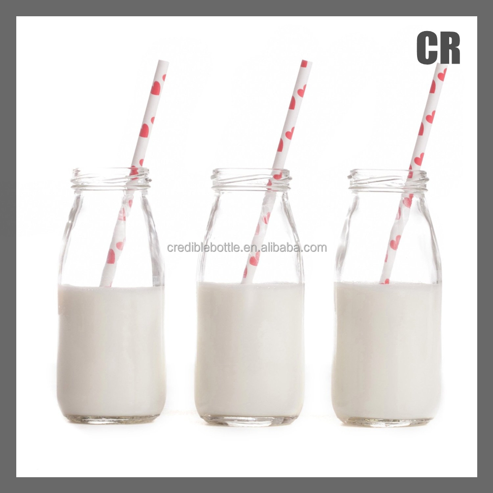 Vintage Glass Milk Bottles With Paper Straws/ clear 250ml coconut milk glass bottle