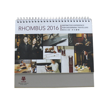 High quality 4 color art paper top table calendar