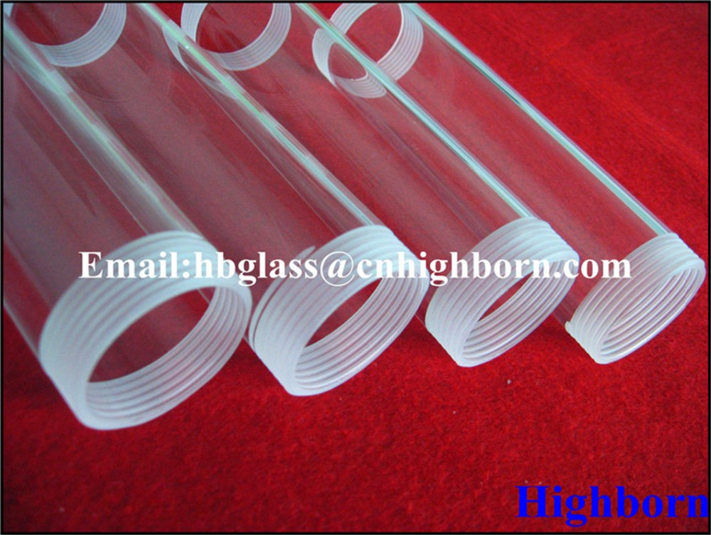 clear screw thread fused silica quartz tube