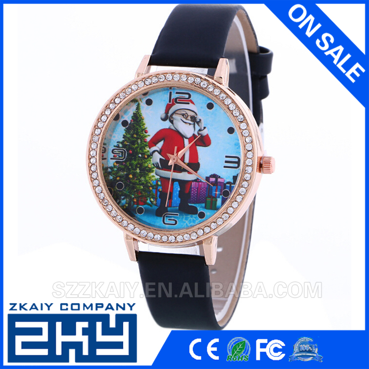 Fashion 2016 Hot Selling Quartz Watches Christmas Pattern Analog Quartz Vogue Watches Casual Ladies Gift Women