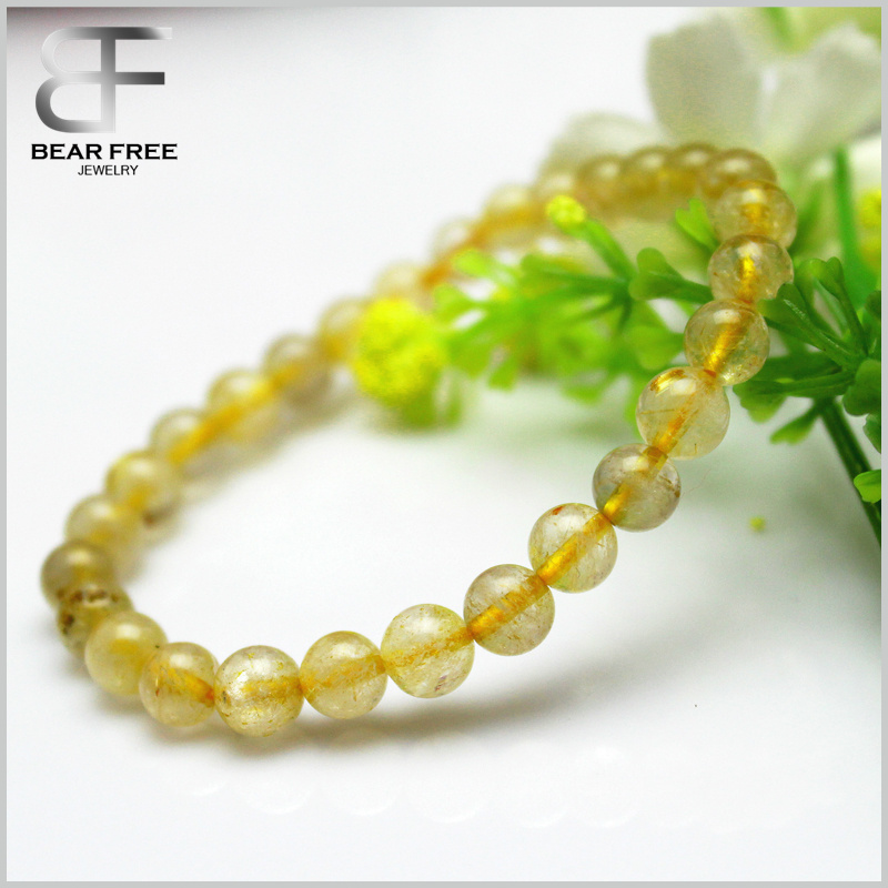 High Quality 6mm Clear Gold Hair Rutile Quartz Crystal Stretch Bracelet Round Bead Rutilated