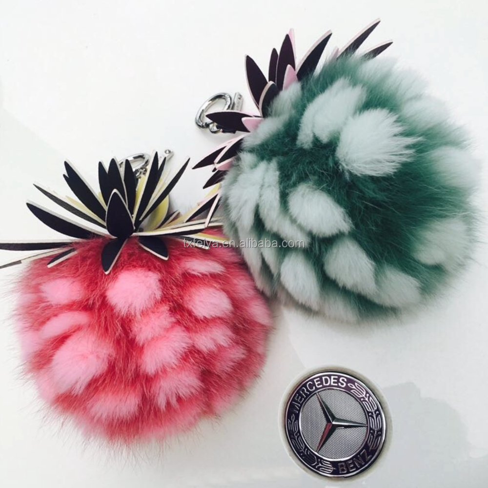 Real Fox Fur Keychain Pineapple Key Chains Women Bag Charms Accessories