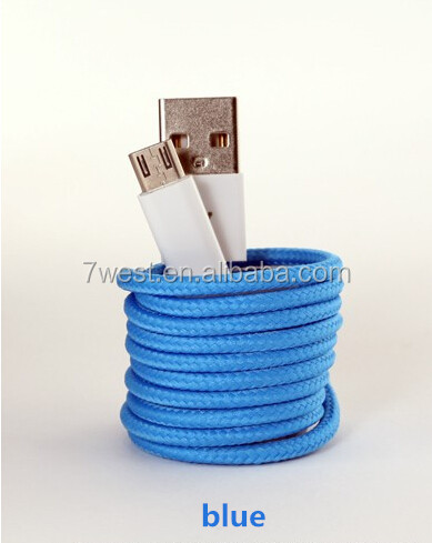 Colored fabric textile micro usb cable for Android smartphones