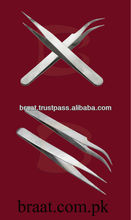 2014 whole sale eyelash tweezers Stainless Silver Strong Curved and Straight eye lash extension tweezers