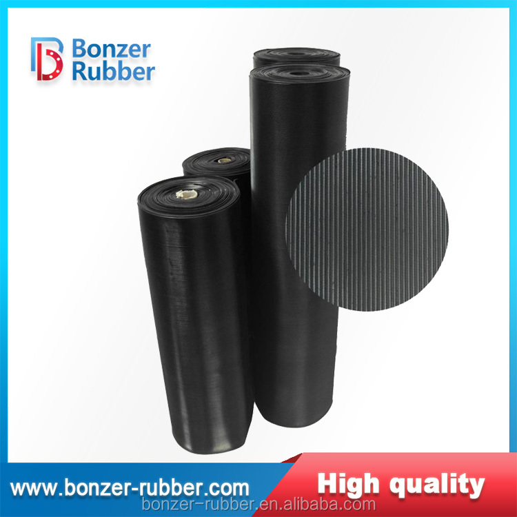 Industrial Corrugated fine ribbed anti slip rubber sheet for flooring