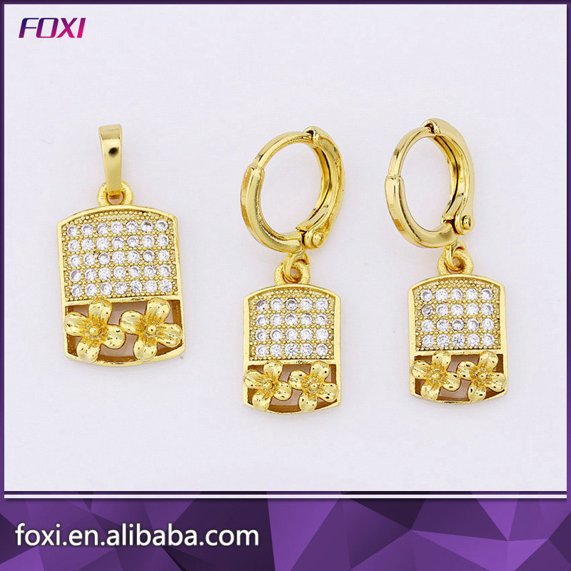 2017 hot sale plating 18k gold and dubai gold jewelry set of ear and pendant for women