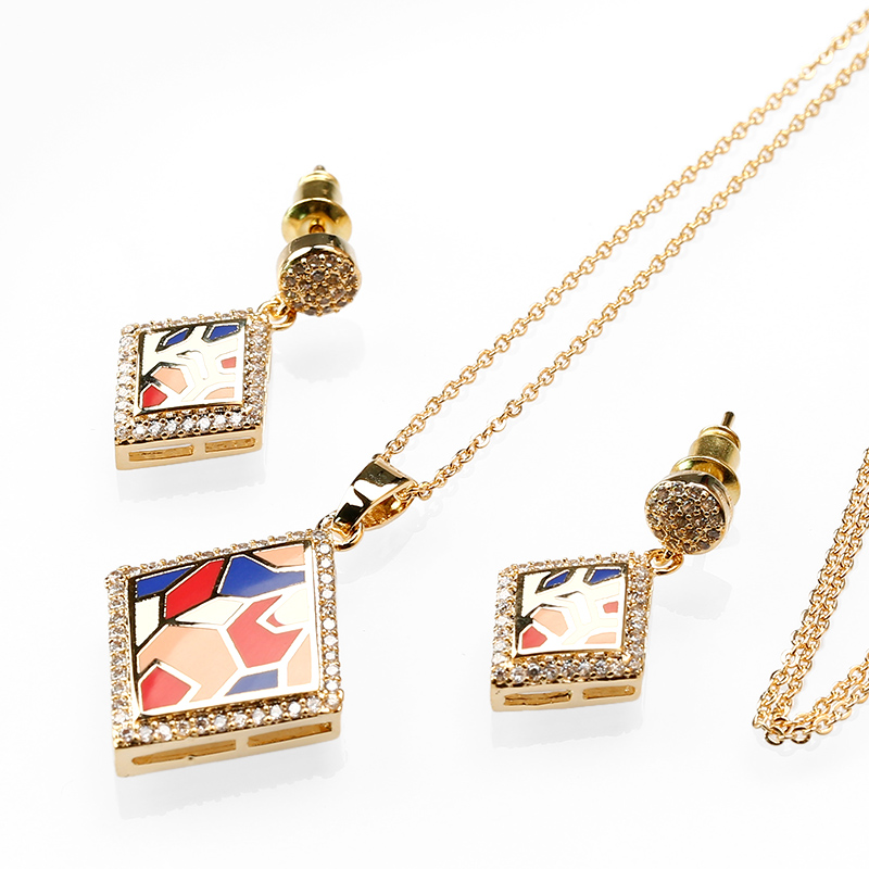 Italian Real Gold Plating Jewelry Set Series, Necklace Set Of Diamond Jewelry