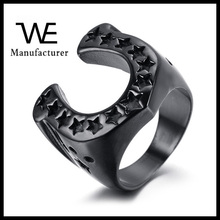 Gun Black Plating Horseshoe Shape Ring with Pentagram Jewelry