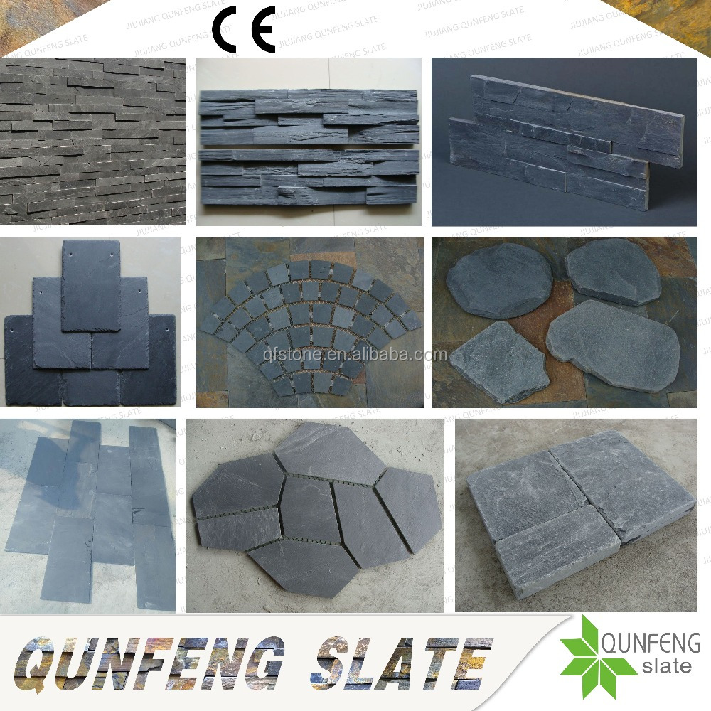 CE Passed Antacid China Natural Stone Tile Black Slate