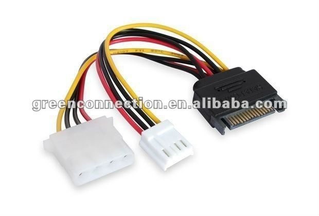 function of SATA 15pin power to 4pin Molex + 4pin power cable
