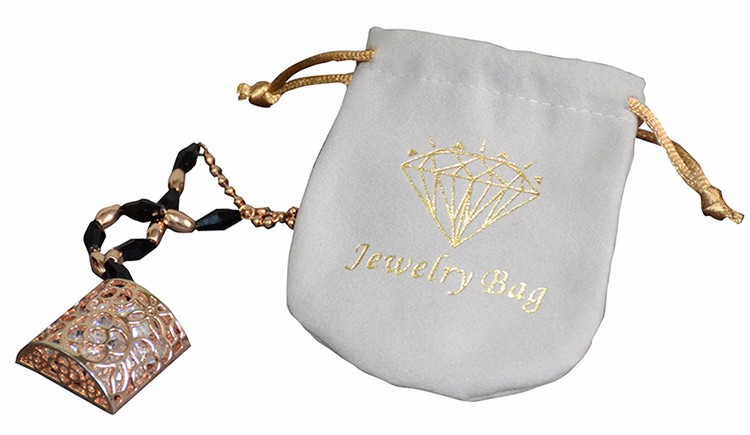 High-End Microfiber Necklace Pouch Bag With Drawstring