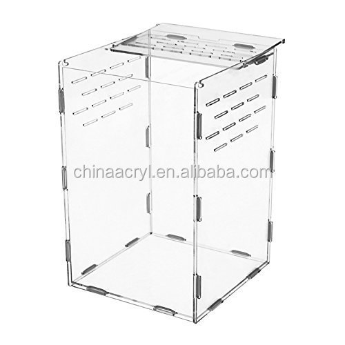 Clear Acrylic Reptiles Terrarium Container Ideal for Reptiles or Amphibians 'Larvae Spiders Ants Scorpions Chameleon Lizard