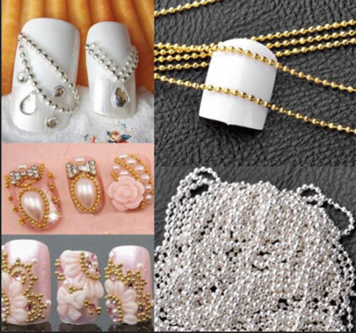 3d Gold Silver Metallic Caviar Micro ball Beads nail art metal chain