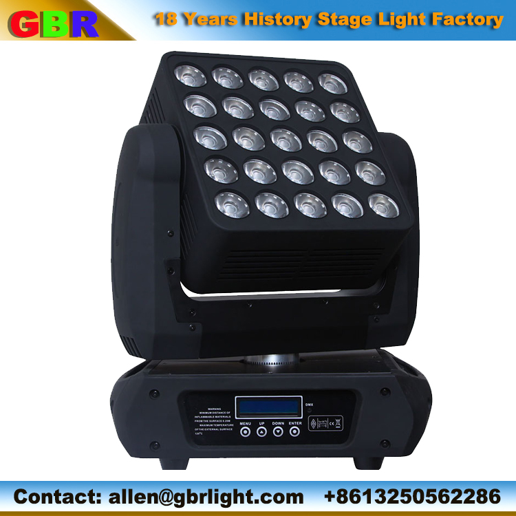 25*12W full color disco night club LED matrix blinder with infinite movement