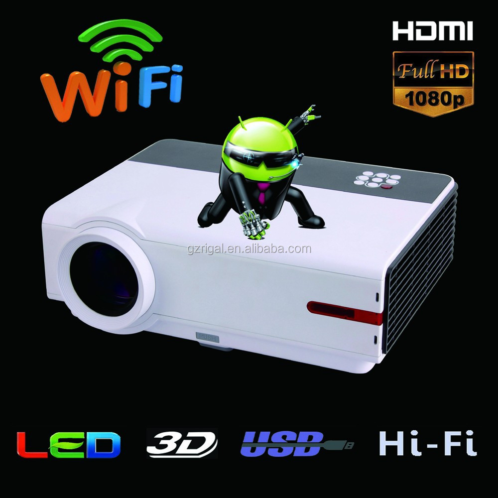 RD-808A Upgraded High Brightness Full HD 3D LED Projector Mobile Phone Projector Android 1280*800 with Built-in Hi-Fi Speaker