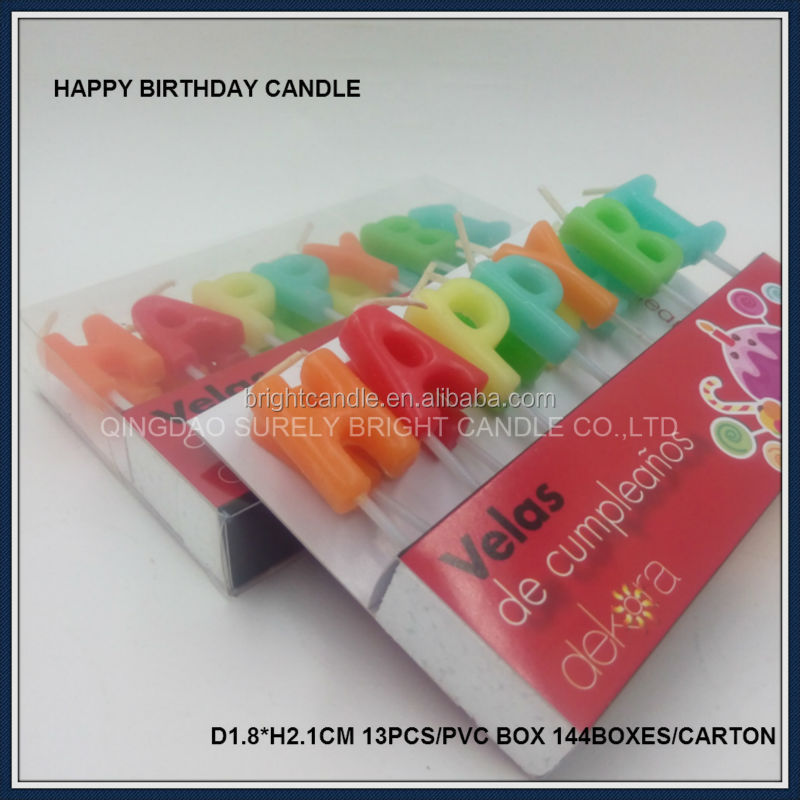 colorful birthday number/letter/pillar candle China candle manufacturer