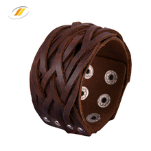 Braided Adjustable Snap Buttons Leather Bracelet For Women Men