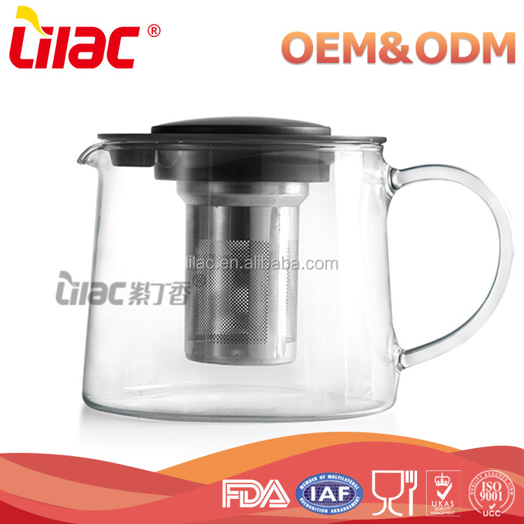 Hot Selling Christmas Gift stainless steel strainer 850ml 1500ml pyrex coffee tea pot glass