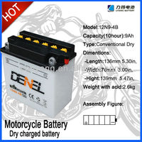 12N9-4B12V9Ah Dry charge battery for jialing motorcycle parts